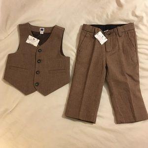 Janie & Jack Brown Vest & Pants